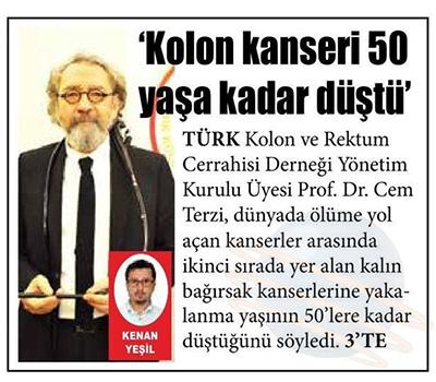 """""""Kolon Kanseri 50 Yaşa Kadar Düştü"""" 13.03.2020"""